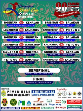 JADWAL PERTANDINGAN BANGUNJIWO BARAT CUP 2018