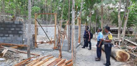 Turun Lapangan, Pemdes Bangunjiwo bersama Pendamping Desa, Babhinkamtibmas monitoring pembangunan