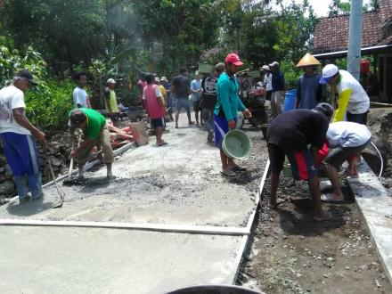 Desa Bangunjiwo kembali memperoleh alokasi padat karya infrastruktur Kemnaker RI TA 2019