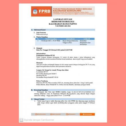 Laporan Hidrometerorologi FPRB Kalurahan Bangunjiwo Kapanewon Kasihan Kabupaten Bantul.