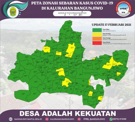 Peta Zonasi Sebaran Covid19 Kalurahan Bangunjiwo PPKM Mikro berbasis RT