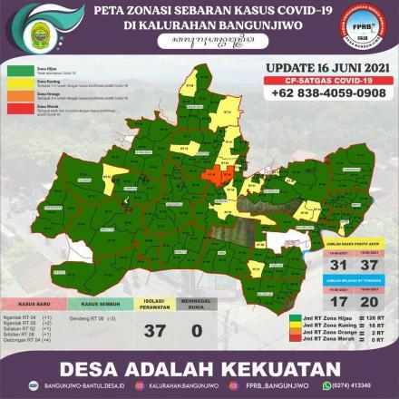Update Peta Zonasi Sebaran Covid19  16 Juni 2021