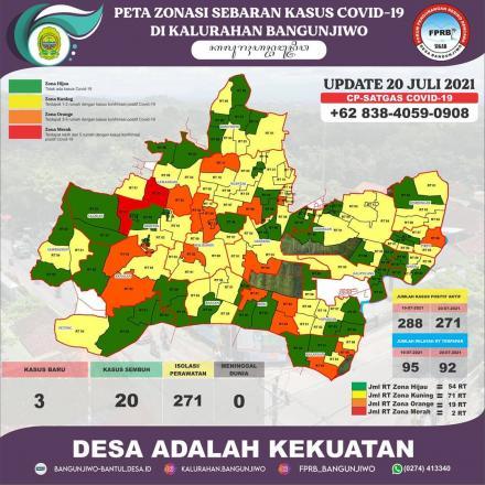 Peta Zonasi Sebaran Covid19 Kalurahan Bangunjiwo 20 Juli 2021