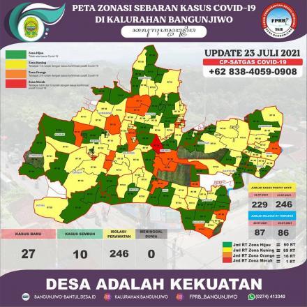pdate Peta Zonasi Sebaran Covid19 Kalurahan Bangunjiwo 23 Juli 2021