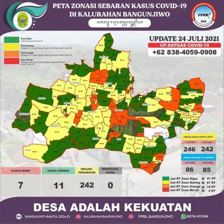 Update Peta Zonasi Sebaran Covid19 Kalurahan Bangunjiwo 24 Juli 2021
