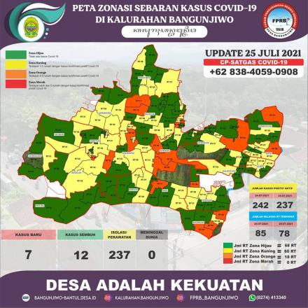 Update Peta Zonasi Sebaran Covid19 Kalurahan Bangunjiwo 25 Juli 2021