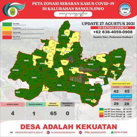 Update Peta Zonasi Sebaran Covid19 tanggal 27 Agustus 2021