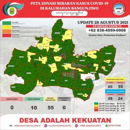 Update Peta Zonasi Sebaran Covid19 tanggal 28 Agustus 2021