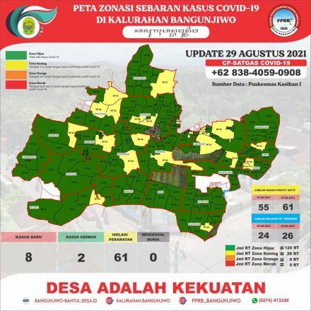 Update Peta Zonasi Sebaran Covid19 tanggal 29 Agustus 2021