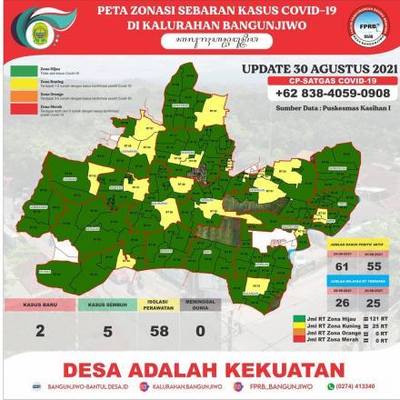 Update Peta Zonasi Sebaran Covid19 tanggal 30 Agustus 2021