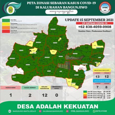 Update Peta Zonasi Sebaran Covid19 Kalurahan Bangunjiwo tanggal 15 September 2021