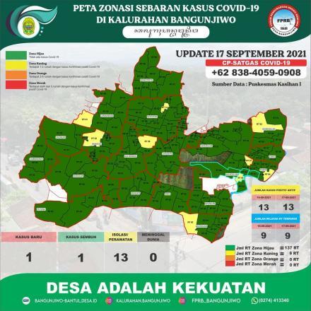 Update Peta Zonasi Sebaran Covid19 tanggal 17 September 2021