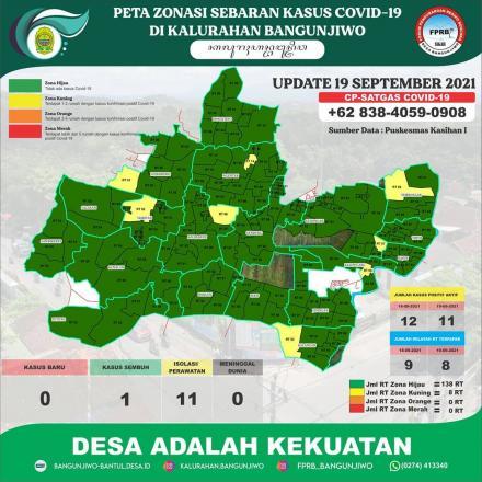 Update Peta Zonasi Sebaran Covid19 tanggal 19 September 2021