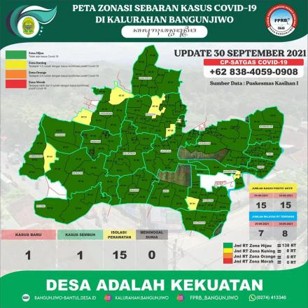 Update Peta Zonasi Sebaran Covid19 tanggal 01 Oktober 2021
